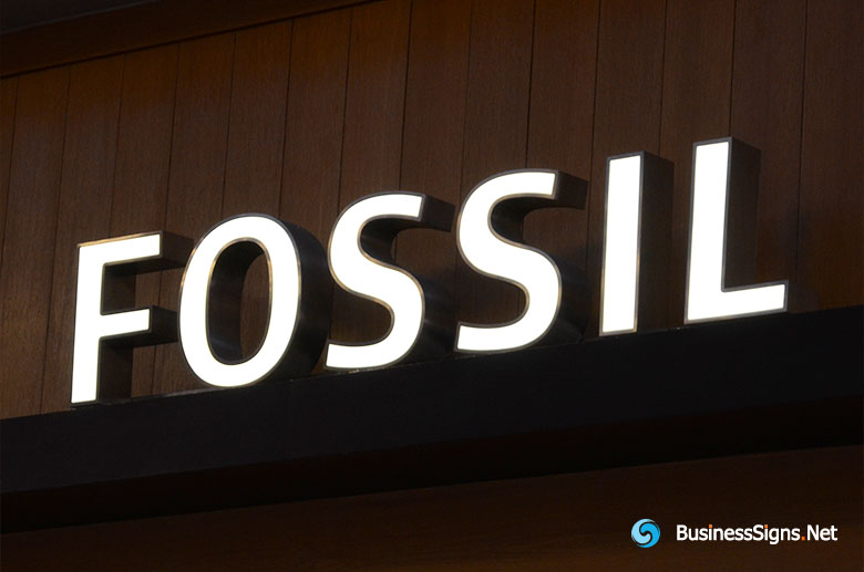 3d-led-front-lit-signs-with-brushed-stainless-steel-letter-shell-for-fossil